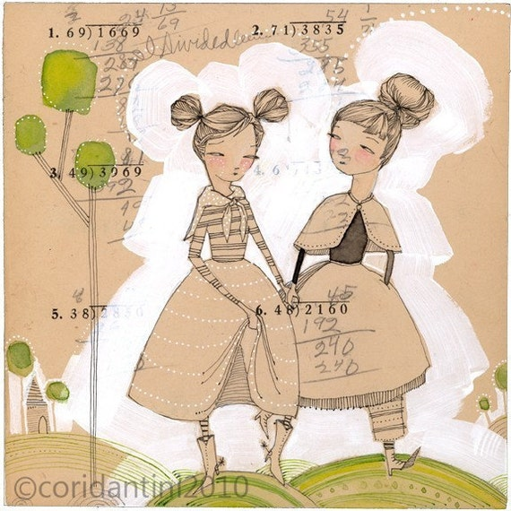 Art Print of a whimsical watercolor painting about friendship - friends - 8 x 8 inch archival - limited edition print by cori dantini
