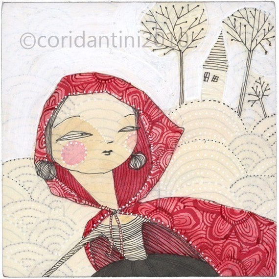 little red riding hood - Red caped woman print -  8 x 8 inch limited edition archival... away she went by cori dantini