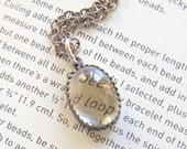Sterling Silver Necklace with Clear Oval Cabochon in Gallery Bezel Setting with Lobster Claw Clasp