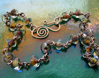 Sterling Silver and Lampworked Glass Necklace with Hand-Forged Clasp