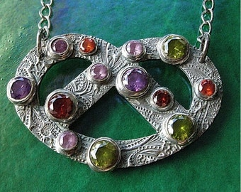 Salted Pretzel Fine Silver, Sterling and Colorful CZ Celtic Style Necklace