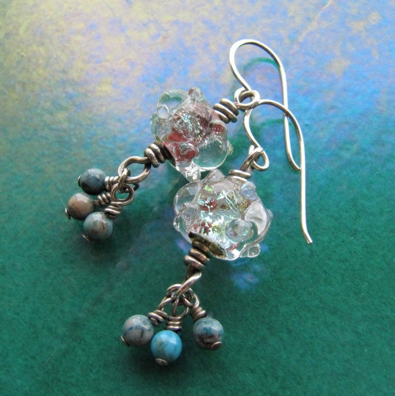 Sailors Valentine Sterling Silver Borosilicate Glass and Larimar Drop Earrings