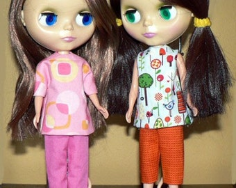 sewing pattern for Blythe doll clothes tunics, tops, pants, capris PDF