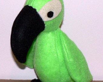 Sewing pattern for stuffed felt birdy parrot toucan PDF
