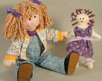 Adorable 14 inch cloth rag doll sewing pattern Tasha plus her wardrobe PDF