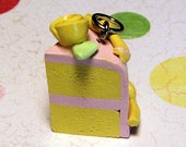 Miniature Yellow Cake with Pink Icing charm