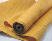 Hand Woven Hemp Linen Himalaya Fabric - Gold Hand dyed