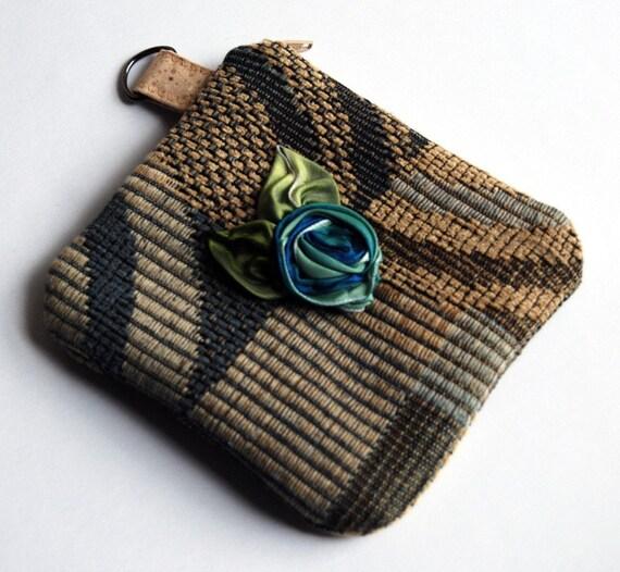 Sale... It was 20.00 USD... Blue Beige Jacquard ribbon flower zippered little coin, wallet, pouch, purse by Lolos