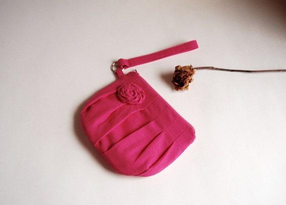 Pink  Bridal Clutch or Bridesmaid Clutch Pouch Wristlet  Purse - Romantic Rosebud pleats  by Lolos