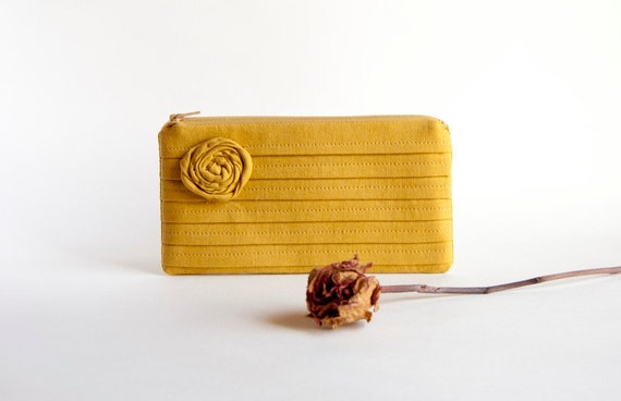 Mustard Bridal Pouch or Bridesmaid Gift Clutch, Purse - Reserved for Jenn - Romantic Rose pleats by Lolos