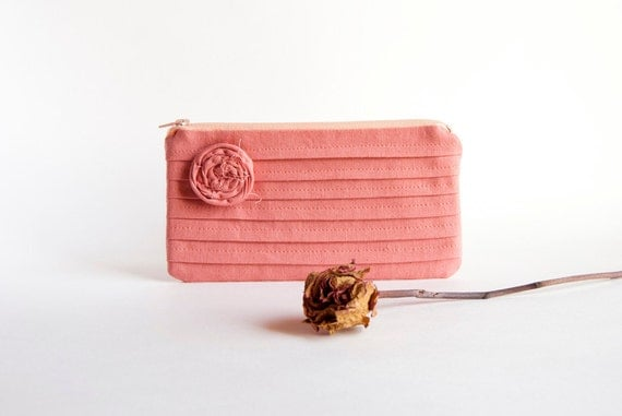 Reserved for Lauren-Coral Bridal Wedding Clutch or Bridesmaid Gift Clutch, Pouch, Purse - Romantic Rose pleats  by Lolos