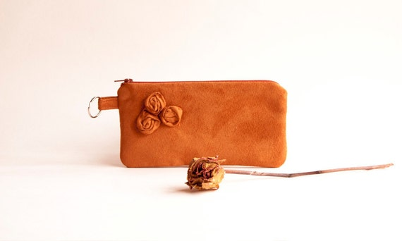 Free Shipping Orange Vegan Bridal Wedding Clutch or Bridesmaid Clutch, Pouch, Purse - Romantic Three Roses by Lolos