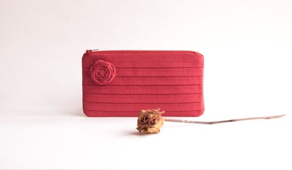 Opaque Red Bridal Wedding Clutch or Bridesmaids Clutch, Pouch, Purse - Romantic Rose pleats by Lolos