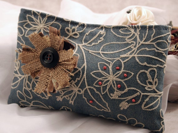 Blue Denim Flowers Clutch Bag by Lolos.