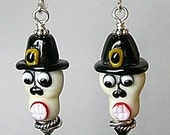 Glitterbug Originals THANKSGIVING PILGRIM Sugar Skulls Handmade Lampwork Art Glass Earrings SRAJD