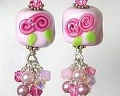 Glitterbug Originals PINK RoSeBuD CANDIES Handmade Lampwork Art Glass Earrings SRaJD