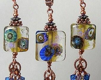 Glitterbug Originals ORGANIC Handmade Dichroic Murini Lampwork Art Glass Earrings Pendant and Bracelet SET SRaJD