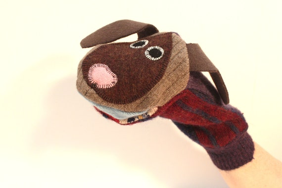 Hand puppet  puppy  Nutmeg the floppy-eared puppy  made of seven recycled sweaters