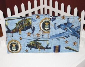 AIR FORCE long bi-fold wallet USAF clutch