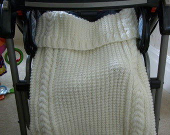 BUGGY HUGGY/Cream Cabled Buggy Huggy Stroller Mate- Pram Coverlet-Stroller Blanket-Baby Stroller Cosy Toes-Ready to Ship