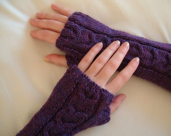ARMWARMERS/FINGERLESS GLOVES/Purple Extra Long Ladies Fingerless Gloves-Womens Arm Warmers-Money Gloves-Ready to Ship