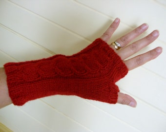 FINGERLESS GLOVES/WRISTWARMERS/Handknitted Ladies Berry Red Cabled Fingerless Gloves-Knit Womens Wrist Warmers-Ready to Ship