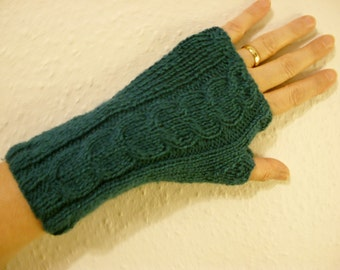 FINGERLESS GLOVES/WRISTWARMERS/Handknit Ladies Dark Teal Fingerless Gloves-Womens Knit Arm Warmers-Ready to Ship