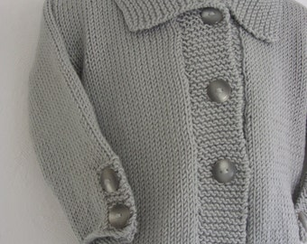 KNIT BABY COAT/Grey Baby Handknit Formal Coat-6-12 months size-Ready to Ship
