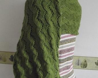 KNIT LADIES SHAWL/Green Lacy Ladies Shawl-Womens Evening Shawl-Stole-Wrap-Fichu-Serape-Ready to Ship