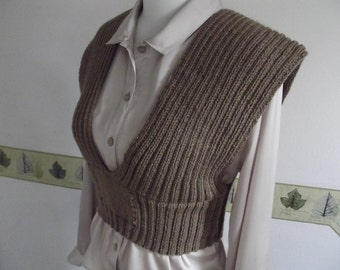 LADIES KNIT TANK/Chocolate Brown Womans-Ladies Sleeveless Sweater-Gilet-Tank-Vest Top-Ready to Ship