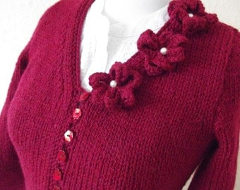 KNIT LADIES CARDIGAN/Ruby Red Womens Cardigan-Ladies Knitted Sweater- Rose Corsage-Dark Red Pretty Cardigan- Ready to Ship
