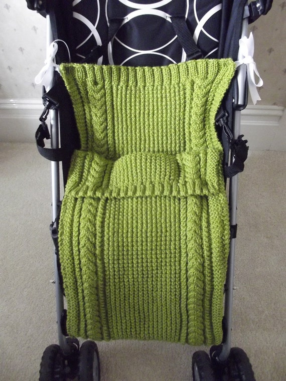 BUGGY HUGGY MATE/Handknitted Baby Juicy Green Buggy Huggy-Knitted Baby Stroller Mate-Knit Baby Blanket-Ready to Ship