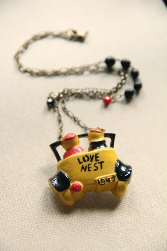Love Nest - Antique Celluloid Brooch Necklace