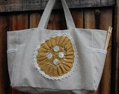 Button Doily Project Bag Tote