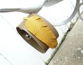 Mustard Yellow Feather Cuff