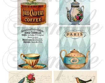 TiffanyJane Instant Download Coffee and Tea Collage sheet Embellishment--Paper Tags--Scrapbooking-Altered Art