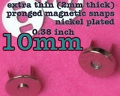 15 sets extra small extra thin nickel plated magnetic snaps (10 mm)