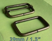 5 Sets Adjustable Strap Kit with slide and rectangle ring - 1.5 Inch / 39mm Width (available in nickel and antique brass finish)