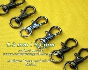 15 Pieces Lobster Swivel Clasps - 1.3 INCH - 34 mm (available in nickel, antique brass, copper, and antique copper)