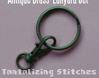 15 Lanyard Kits - Swivel Clip with Key Ring (available in antique brass, nickel, and copper color finish)