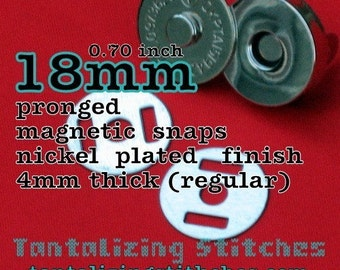 30 Sets 0.7 inch / 18 mm Magnetic Snap Closures - 4mm thick (available in nickel, antique brass, and gun metal)