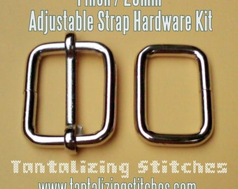 100 Sets of Adjustable Strap Kit with slide and rectangle ring - 1 Inch / 26mm Width (available in nickel and antique brass finish)