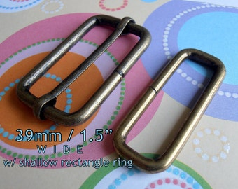 5 Sets Adjustable Strap Kit - 1.5 Inch / 39mm Width with Shallow Rectangle Ring (available in gold color, nickel, antique brass)