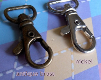 100 Pieces Lobster Swivel Clasps - 1.5 inch x 0.6 inch (CHOOSE YOUR FINISH: available in antique brass and nickel finish)
