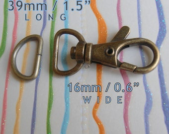 40 Sets 1.5 Inch Swivel Clips with Matching D Ring (available in Antique Brass and Nickel Finish)