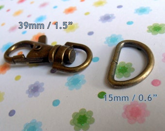 15 sets 1.5 Inch Swivel Clips with Matching D Ring (available in antique brass, nickel, gun metal finish)