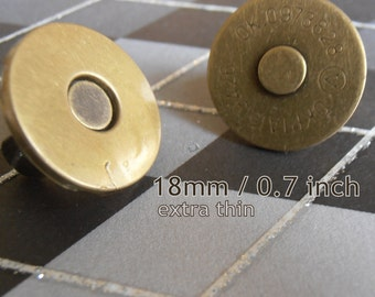 100 Sets Extra Thin Magnetic Snap Closures (available in 18mm and 14mm diameter, nickel and antique brass finish)