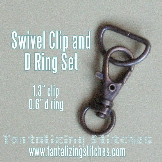 5 sets 1.3 Inch / 34mm Swivel Clips with Matching D Ring (available in antique brass and nickel finish)