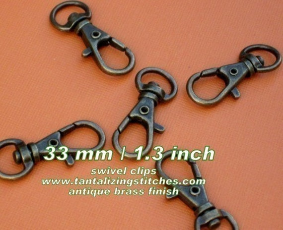 5 Pieces Lobster Swivel Clasps (1.3 INCH / 34mm) - available in nickel, antique brass, copper, and antique copper finish