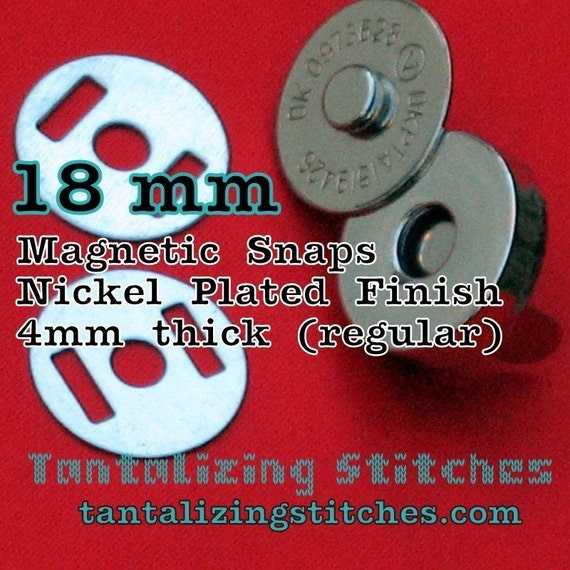 100 Sets 0.7 inch / 18 mm Magnetic Snap Closures - 4mm thick (available in nickel, antique brass, and gun metal)